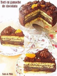 Cake with chocolate ganache Romanian Desserts, Romanian Food, Cake Recipes, Dessert Recipes, Food Cakes, Something Sweet, Coffee Cake, Yummy Cakes, Cake Cookies
