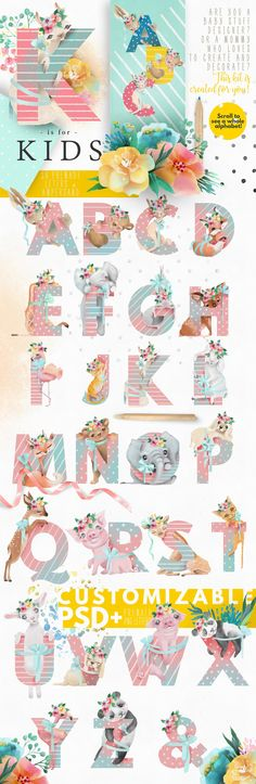 Pretty Letters - Baby Designers Kit by Principesca on @creativemarket