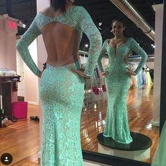 2016 Backless Beads Long Sleeve Prom dress 30107