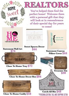 Canadian Realtor flier.  Close To Home collection, treasure tin, statement wall art and pillow cover, sweet spaces decor, and catch all Bin.  Thirty-One spring/summer 2018 www.mythirtyone.ca/sabrinawhite