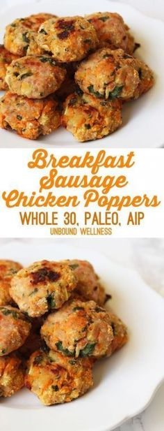 Breakfast Sausage Chicken Poppers (Paleo Whole 30 AIP) Breakfast Sausage Chicken Poppers (Paleo Whole 30 AIP) Whole 30 Vegetarian, Paleo Whole 30, Whole 30 Recipes, Whole 30 Diet, Whole 30 Lunch, Whole 30 Breakfast, Perfect Breakfast, Breakfast Time, Whole 30 Snacks