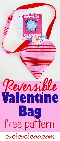 This reversible heart-shaped Valentine's Day bag is perfect for little girls to carry all their valentines, candy or other treasures in! FREE sewing pattern and tutorial by Cucicucicoo Patterns!