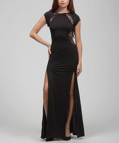 Another great find on #zulily! Carapace Black Sheer Lace Slit Dress by Carapace #zulilyfinds