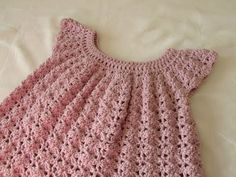 This step by step tutorial will show you how to crochet a pretty, shell stitch girl's dress / top / smock / tunic. This project is suitable for beginners. How to make this dress in baby and toddler sizes:  ...  -For size 3 - 4 ye. Crochet, How, Stitch, Crochê, Dress, Girl,