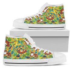 Tigers Playing Pattern Yellow Men's High Tops    Custom printed high tops. Amazing colors and print quality. Lightweight canvas construction for maximum comfort. High quality EVA sole for exceptional traction and durability. Made with love just for you. Show Off Your Wild Side Today! #hightops #tigergear #WildAnimalist Mens High Tops, Black High Tops, Men's Shoes, Top Shoes, Classic Looks, Snug Fit, High Top Sneakers, Just For You, Lace Up