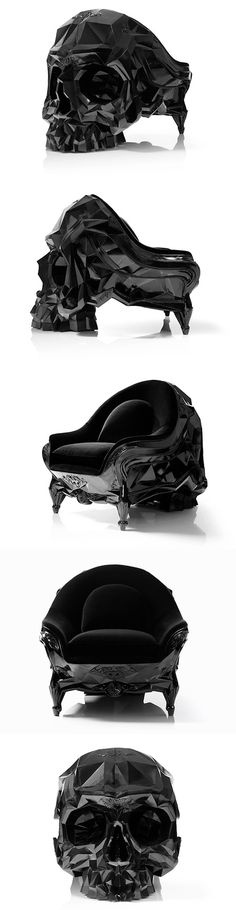 Skull Armchair is an ominously powerful looking piece of furniture. The onyx chair is all velvety comfort on one side and a ridged, geometric skull on the other.