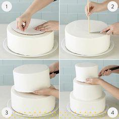 Wedding hairstyles three tier cake, diy 2 tier cake, white two tier cake, two tier cake, how 1 Tier Cake, Three Tier Cake, Single Tier Cake, Tiered Cakes, Diy Wedding Cake, Fondant Wedding Cakes, Cake Fondant, Fondant Toppers, Gold Wedding