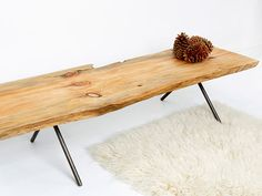 natural wood bench by Ohio Design via Daily Candy