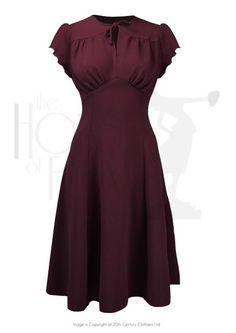 Grable Tea Dress - Red Grable Tea Swing-Tanzkleid im Stil der Jahre aus rotem Krepp 1940s Fashion Dresses, 1930s Fashion, Vintage Fashion, Dress Fashion, Fashion Fashion, Dance Fashion, Fashion Guide, Lolita Fashion, Fashion History