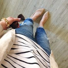 classic style: boyfriends, stripes and neutral flats #ootd #wiw #fbloggers""