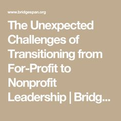 The Unexpected Challenges of Transitioning from For-Profit to Nonprofit Leadership   Bridgespan