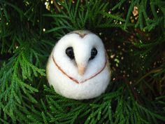 Small needle felted barn owl - Too cute! :3