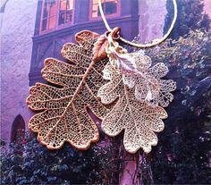 BLACK FRIDAY SPECIAL - Oak, Oak, Oak Leaves, real leaf jewelry, Three Oak leaves, gold, copper, silver, custom necklace