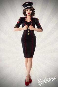 Military-Kleid mit Jacke schwarz-rot 1-50000-021