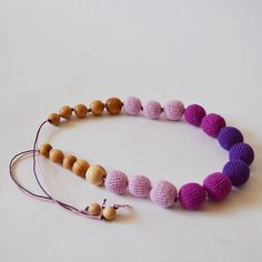 Purple Lilac Teething Necklace, Baby Boy Toy, Crochet Bead Jewelry, Baby Girl Toy, Child Teething, Little Girl Necklace, Babies Backpack #nursing #teething #necklace