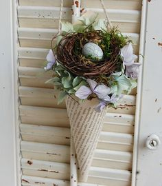 Vintage Paper French Book Cone with Bird's Nest by roseflower48, $14.00