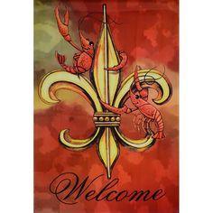 Routh Crawfish Fleur De Lis Large Flag