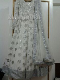 Silver Dress / Anarkali by KimPereiraF on Etsy, $380.00
