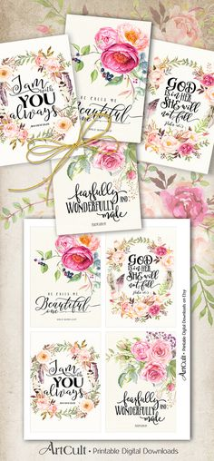 Printable Greeting Cards, BIBLE VERSES four 3.5x5 inch size images digital collage sheet for birthday, embellishment, scrapbooking ArtCult