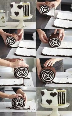 Striped Cake How to Make Gorgeous Chocolate Stripe Cake Food Cakes, Cupcake Cakes, Cake Fondant, Beautiful Cakes, Amazing Cakes, Sweet Recipes, Cake Recipes, Striped Cake, Cake Tutorial