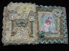 Shabby Chic Fabric Journal / Book Altered Art door KISoriginals