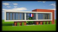 Villa Minecraft, Minecraft Modern City, Minecraft Mansion, Minecraft Buildings, Modern Porch, Minecraft Tutorial, Minecraft Designs, Construction, Mansions