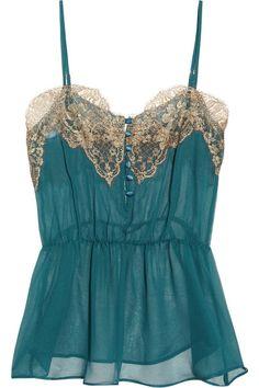 Rosamosario Classica Bellezza lace-trimmed silk-chiffon camisole