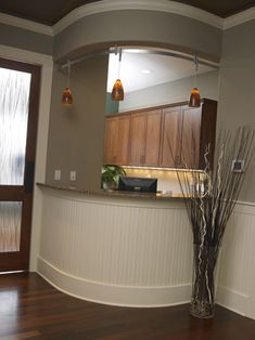 Front Desk with pendant lighting