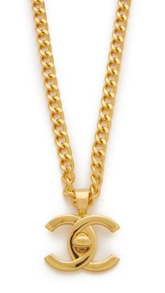 Chanel Turn Lock Charm Necklace (Previously Owned) - This previously owned Chanel necklace is from the 1996 collection. Interlocking C pendant. Chanel Bracelet, Chanel Store, Handbags Online, Black Crystals, Vintage Chanel, Ring Necklace, Vintage Earrings, Jewelry Accessories, Metal