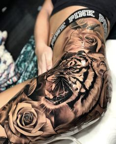Thigh Tattoo Ideas For Women - Best Tattoos For Women: Cute, Unique, and Meaning. - Thigh Tattoo Ideas For Women – Best Tattoos For Women: Cute, Unique, and Meaningful Tattoo Ideas - Tiger Tattoo Thigh, Tigh Tattoo, Hip Thigh Tattoos, Leg Tattoos Women, Thigh Tattoo Designs, Best Tattoos For Women, Dope Tattoos, Badass Tattoos, Great Tattoos