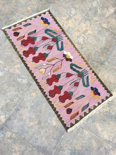Excited to share this item from my #etsy shop: Oriental Hand Woven Pink Kilim Rug, Turkish Carpet Rug, Small Kilim Rug, Small Floor Rug, Vintage Rug, Pink Colorful Rug, 1'54''x3'18'' feet #housewares #pink #area #scandinavian #livingroom #oriental #rectangle #christmas #bridalshower Star Rug, Pink Rug, Small Rugs, Floor Rugs, Kilim Rugs, Vintage Rugs, Colorful Rugs, Rugs On Carpet, Bohemian Rug