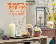 Winter Spring 2015 New Starter Kit -- Join us today for $99 and earn free products when you hit turn in your first shows. www.partylite.biz/nevergiveup/our-opportunity