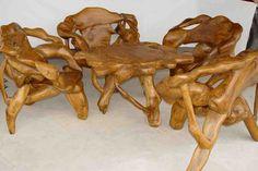 View Large Image of Teak Root Furniture Garden Furniture Sale, Trunk Furniture, Backyard Furniture, Solid Wood Furniture, Furniture Ideas, Got Wood, Wood Carving, Barn Wood, Wood Art