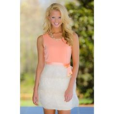 Topped With Sprinkles Dress-Apricot - $40.00