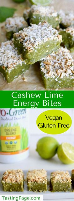 These no bake cashew lime energy bites are the perfect shot of nutrition to keep you fueled and energized throughout the day. They're gluten free, dairy free, vegan, and free from refined sugar. Vegan Sweets, Vegan Snacks, Yummy Snacks, Vegan Desserts, Raw Food Recipes, Healthy Snacks, Cooking Recipes, Yummy Food, Healthy Recipes