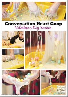 Conversation Heart Goop for Valentine's Day Science Fun | RaisingLifelongLearners.com