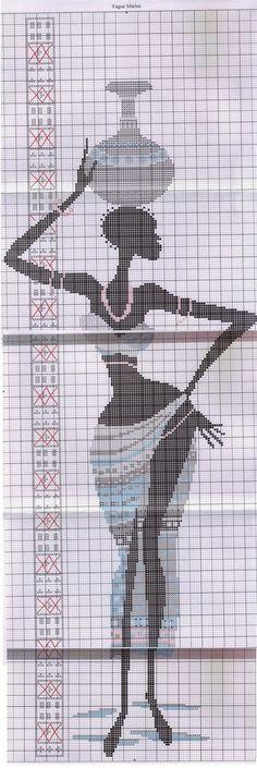 0 point de croix africaine avec jarre sur la tete - cross stitch african woman with a jar on her head part 2