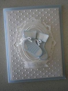 KeepStamping: Stitched Stocking baby boy booties