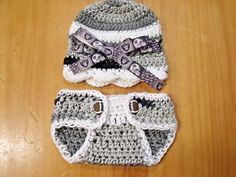 07da33ac5b3 Handmade Crochet Oakland Raiders Newborn Beanie   Diaper Cover Set mts -  Great Baby Shower Gift or Photo Prop! by TurtleOnTheGo on Etsy