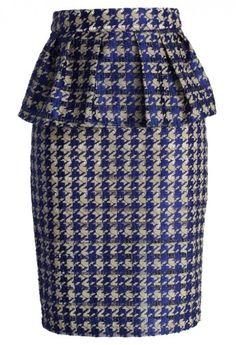 Houndstooth Cutout Peplum Pencil Skirt