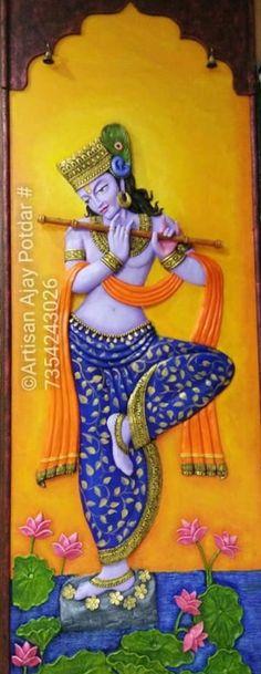 Lotus Painting, Mural Painting, Mural Art, Diy Painting, Tanjore Painting, Krishna Painting, Classic Sailing, Clay Wall Art, Clay Art Projects