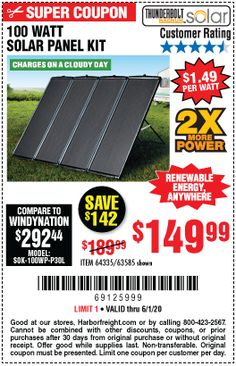 100 Watt Solar Panel, Solar Panel Kits, Solar Panels, Harbor Freight Coupon, Harbor Freight Tools, Renewable Energy, Solar Energy, The 100, Sun Panels