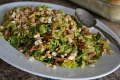 Sauteed Brussel Sprouts with Bacon & Cashews - Can't imagine this is better than roasted, but want to try it
