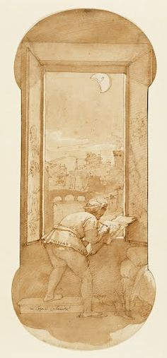Federico Zuccaro (Italian, about 1541 - 1609) - Taddeo Drawing by Moonlight in Calabrese's House (About 1595)   The J. Paul Getty Museum