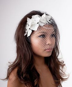 diamond white orchid birdcage veil fascinator