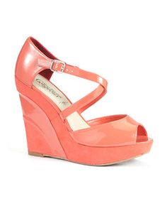 Coral (Orange) Coral Wedge Shoe With Cross Over Straps | New Look