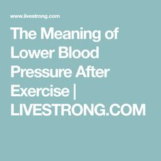 how does blood pressure change after exercise