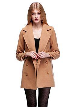 f15ca0f5e979 Zeagoo Damen Zweireiher Revers Wollmischung Mantel Warm Outwear  Amazon.de   Bekleidung