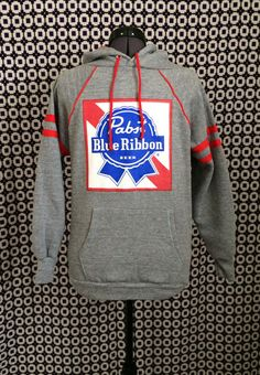 vintage 80s grey and red Pabst Blue Ribbon beer by RobsVintique