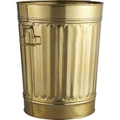 gold standard.  Glossy gold galvanized iron wastebin treats your trash like treasure.  Classic, sturdy shape adds a clever wink to office, kitchen, bath. Galvanized iron with gold finishWipe clean with damp clothMade in India.